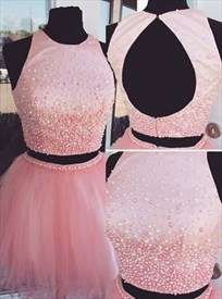 Light Pink Beaded Bodice Keyhole Back Homecoming Dress With Two Piece