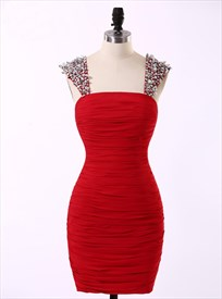 Red Chiffon Sheath Knee Length Homecoming Dress With Beaded Strap