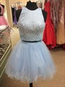 Light Blue Sleeveless Beaded Bodice Homecoming Dresses With Two Piece