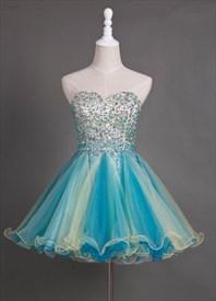 Blue Sleeveless Knee Length Homecoming Dress With Beaded Bodice