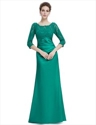 Emerald Green 3/4 Sleeves Illusion Neckline Prom Dresses With Lace Bodice