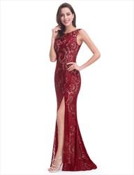 Lace Sleeveless V Back Mermaid Style Prom Dresses With Slits