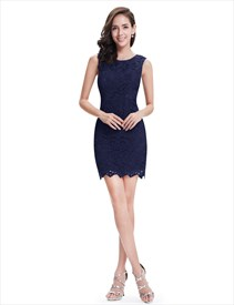 Dark Navy Lace Sleeveless Knee Length Prom Dress With Scoop Neckline