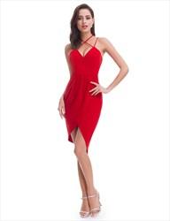 Red Chiffon Sleeveless Sheath Skew Homecoming Dress With Crossed Straps