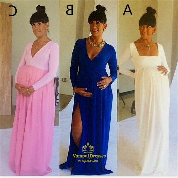 Royal Blue Pregnant Long Sleeve V-Neck Maternity Dress With Side Cutouts