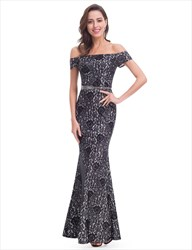 Black Lace Top Off The Shoulder Chiffon Bottom Mermaid Style Prom Dress