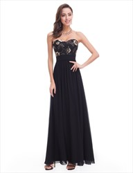 Black Chiffon Sweetheart Neckline Long Prom Dress With Floral Pattern