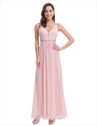 Light Pink Chiffon Cut Out Waist Bridesmaid Dress With Beaded Waist