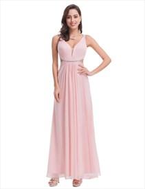 Light Pink Chiffon Cut Out Waist Bridesmaid Dress With Beaded Waist