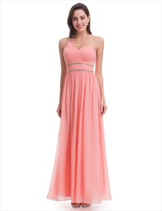 Salmon Chiffon Sleeveless One Shoulder Bridesmaid Dress With Beaded Waist