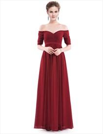 Off The Shoulder V Back Long Prom Dresses With Half Sleeves