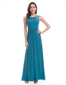 Floor Length Sleeveless Long Chiffon Prom Dress With Beaded Neckline
