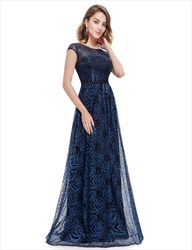Navy Blue Capped Sleeve V Back Long Prom Dress With Lace Overlay