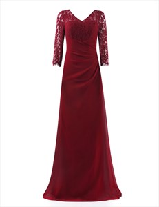 V Neck 3/4 Sleeves Illusion Long Prom Dress With Lace Bodices