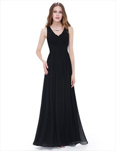 V Neck Sleeveless Lace Illusion Neckline Long Chiffon Prom Dress