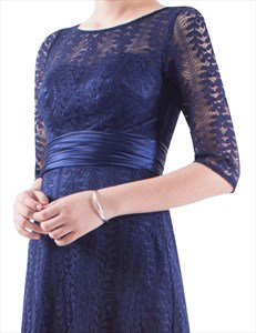3/4 Sleeves Illusion Neckline Long Prom Dresses With Lace Overlay