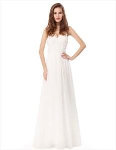 White Chiffon V Neck Sleeveless Prom Dress With Lace Bodice