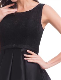 Little Black Sleeveless Knee Length Homecoming Dress With Lace Bodice