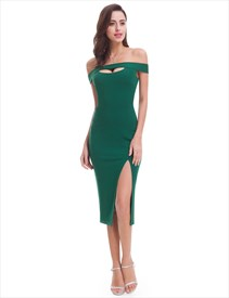 Emerald Green Off The Shoulder Sheath Homecoming Dress With Slit