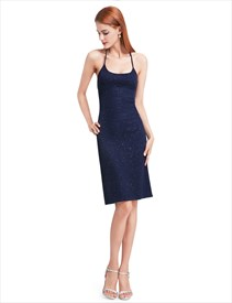 Dark Navy Sleeveless Sheath Crossed Strap Embellished Homecoming Dress