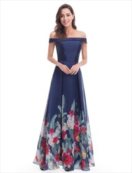 Dark Navy Off The Shoulder Sleeveless Prom Dress With Floral Pattern