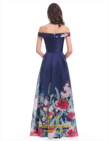 Dark Navy Off The Shoulder Sleeveless Prom Dress With
