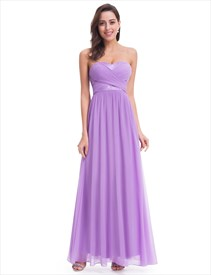 Elegant Lavender Sleeveless Floor Length Chiffon Bridesmaid Dress