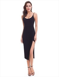 Black Sleeveless Tea Length Sheath Homecoming Dresses With Straps