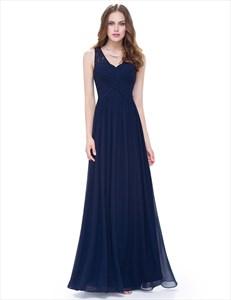Classic V Neck Long Chiffon Floor Length Illusion Neckline Prom Dress