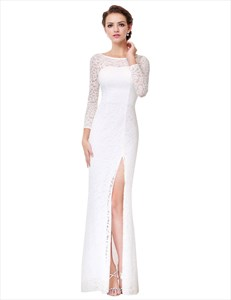 Lace Illusion Sleeve V Back Mermaid Style Prom Dresses With Slit