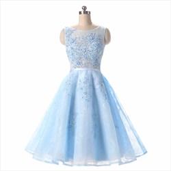 Light Blue Sleeveless Beaded Knee Length Tulle Homecoming Dress
