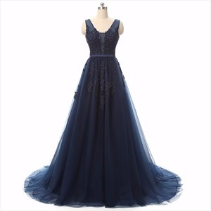 Dark Navy Sleeveless V Back Floor Length Prom Dress With Lace Overlay