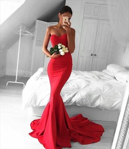 Red Sleeveless Sheath Floor Length Mermaid Style Prom Dress With Train