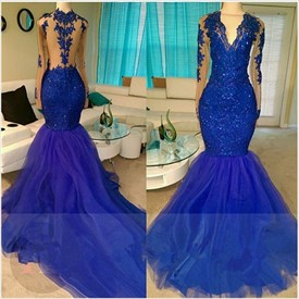 Royal Blue V Neck Long Sleeve Mermaid Prom Dresses With Lace Appliques