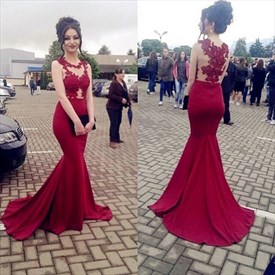 Red Sleeveless Mermaid Style Prom Dress With Train Lace And Appliques