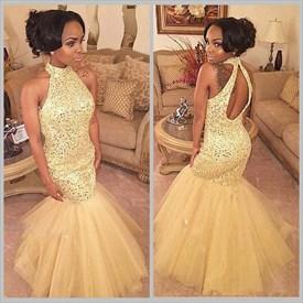 Champagne Sleeveless Halter Neck Beaded Mermaid Style Prom Dress