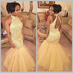 Champagne Sleeveless Halter Neck Beaded Mermaid Style Prom Dress