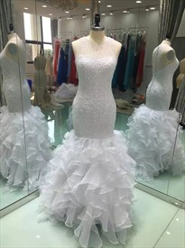 White Beaded Mermaid Style Wedding Dress With Ruffles At The Bottom