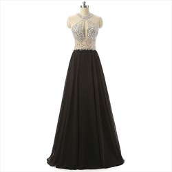 Black Sleeveless Chiffon Floor Length Prom Dress With Beaded Bodice