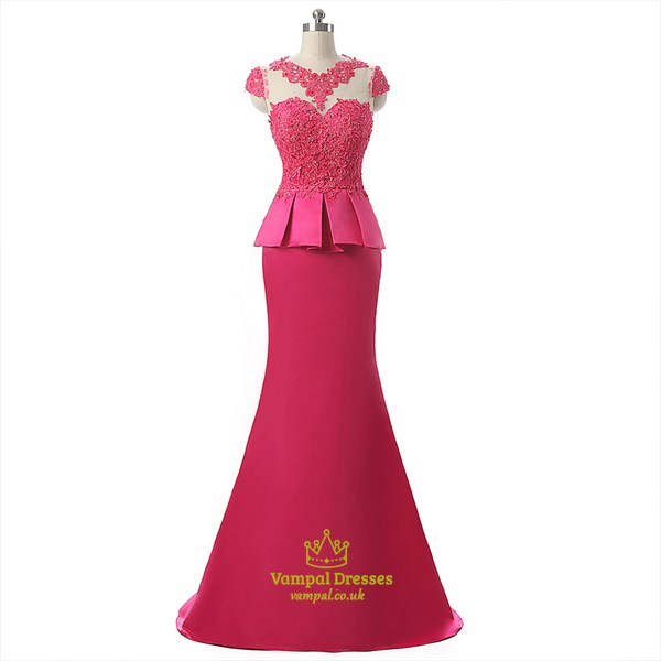 Hot Pink Floor Length Mermaid Prom Dress With Train And Lace Appliques