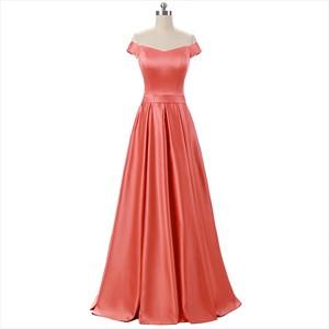 Elegant Coral Short Sleeve Floor Length Off The Shoulder Prom Dress