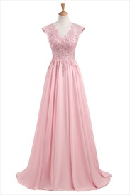 Capped Sleeve V Neck Floor Length Prom Dress With Lace Appliques