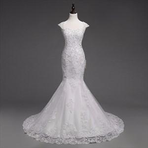 White Lace Capped Sleeve Mermaid Style Wedding Dress With Beaded Bodice