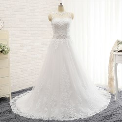 Elegant White Lace Sleeveless Floor Length Wedding Dress With Train