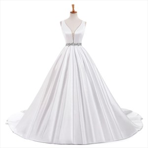 White Sleeveless Plunging Neckline Wedding Dress With Beaded Waist
