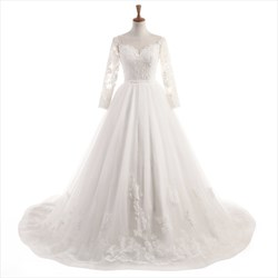 Ivory Long Sleeve Illusion Backless Lace Floor Length Wedding Dress