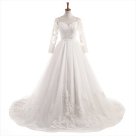 Ivory Long Sleeve Illusion Backless Lace Floor Length Wedding Dress