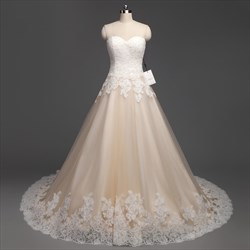 Light Champagne Tulle Sleeveless Long Wedding Dress With Lace Appliques