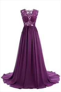 Eggplant Illusion Lace Bodice Sleeveless V Neck Dress With Train
