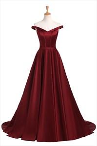 Elegant Burgundy Off The Shoulder Strapless Floor Length Prom Dress